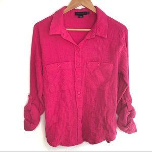 Sanctuary Pink button down Tomboy Shirt XL